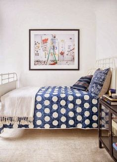 Anne Ziegler interior ||  A white room with indigo blue sheets