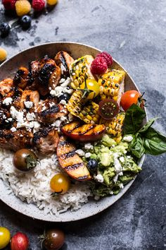 BBQ Chicken and Grilled Corn Rice Bowls with Berry Smashed Avocado | halfbakedharvest.com @hbharvest