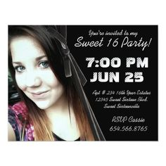 Mod Angle Velvet Ribbon Photo Sweet 16 Party Card