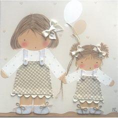 Tabela Craft 2 meninas com balões bege e creme
