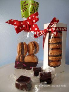 dark chocolate and caramel macaron gift packs
