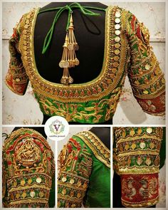 Exclusive wedding saree blouse designs are in-trend these days, here I have complied few of the unique blouse designs for wedding saree. Wedding Saree Blouse Designs, Pattu Saree Blouse Designs, Designer Blouse Patterns, Fancy Blouse Designs, Blouse Neck Designs, Kurti Patterns, Saree Wedding, Dress Patterns, Churidar