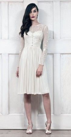 Vintage A-Line Sheer Wedding Dress With Long Sleeves, Lace Illusion Neck & Embroidered Gathered Skirt Knee-Length Tulle - Always the Bride Cocktail Dress For Men, Cocktail Dresses With Sleeves, Sheer Wedding Dress, Wedding Bridesmaid Dresses, Vestidos Vintage, Vintage Dresses, Catherine Deane Bridal, Ascot Outfits, White Gowns