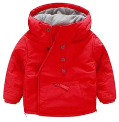 """Yayu Kids Baby Boy Winter Button Thicken Hooded Down Jacket Overcoat red 2T. 1 or 2 Sizes Up Suggested as ours are Chinese Size. US 4y:Length:17.32""""(44cm) Bust:13.78""""(35cm) Sleeve:14.96""""(38cm). US 5y:Length:18.50""""(47cm) Bust:14.57""""(37cm) Sleeve:16.14""""(41cm). US 6y:Length:19.69""""(50cm) Bust:15.35""""(39cm) Sleeve:16.93""""(43cm). US 7y:Length:20.87""""(53cm) Bust:16.14""""(41cm) Sleeve:18.11""""(46cm)."""