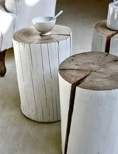 ♂ Neutral interior nature wood home deco easily made from a tree stump and whit paint!