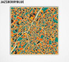 BRUSSELS Belgium Map Giclee Fine Art Print Modern by JazzberryBlue, $30.00