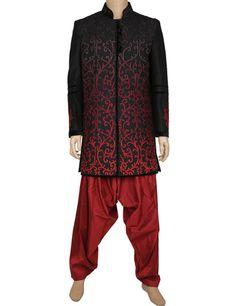 G3 Fashions Black raw silk men indo western sherwani Products code: G3-MIW0054 Price: ₹ 21,895.00