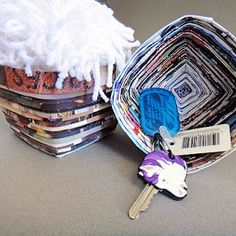 Recycle old magazines by making bowls out of them. Great idea.