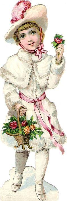 Oblaten Glanzbild schroot gestanst chromo Winter Kind 16,8cm kind bont Schnee sneeuw: