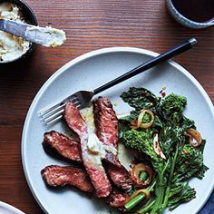 Cooking light - grilled sirloin with anchovy-lemon butter and broccoli rabe -- super fast and super delicious