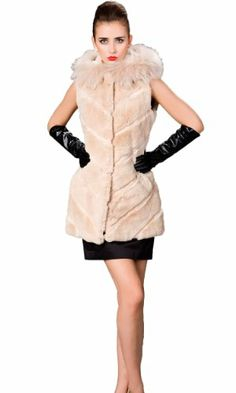 Queenshiny Long Women's 100% Real Rex Rabbit Fur Vest Gilet with Fox Trim with Hood-Beige-L(12) Hook and eye closure. Two exterior hand pockets. Genuine fox fur trim. Approx. length from center back:30''. All of our furs are made from Non-Wildlife.  #Queenshiny #Apparel