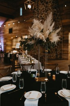 Boho + Romantic Wedding Inspiration with Pampas Grass + Greenery tall stand centerpieces on emerald green velvet linens Greenery Centerpiece, Tall Wedding Centerpieces, Dinner Party Decorations, Simple Wedding Decorations, Grass Decor, Minimalist Wedding Decor, Emerald Green Weddings, Flower Bouquet Wedding, Bridal Bouquets
