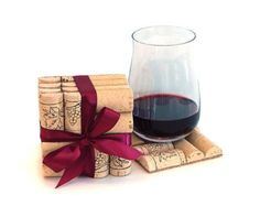 4 Wine Cork Slate Coasters Christmas by ScatteredTreasures