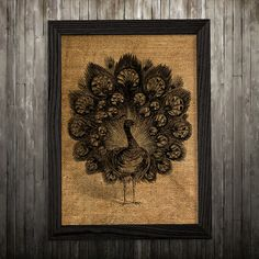 Peacock print. Bird poster. Animal decor. Burlap print.  PLEASE NOTE: this is not actual burlap, this is an art print, the image is printed on art