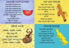 ~ Preschool Songs, Teaching Activities, Preschool Learning, Stem Activities, Teaching Ideas, Nursery Rymes, Afrikaans Language, 7 Month Old Baby, Kids Poems
