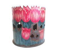 Vintage Flower Pot Tulip Plant Holder Metal Planter by ElmPlace,