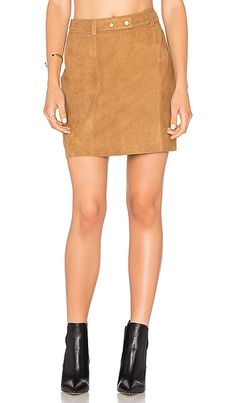 BUTTON FRONT SUEDE SKIRT | Fashion Jackson
