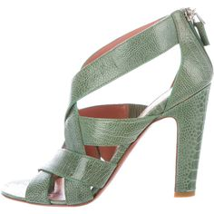 Pre-owned Ala?a Python Multistrap Sandals ($445) ❤ liked on Polyvore featuring shoes, sandals, green, green strappy sandals, block heel shoes, jade shoes, zip shoes and snake print sandals