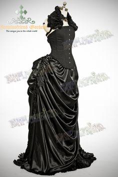 Gothic Victorian Rococo Drop Bustle Absinthe Long Skirt