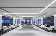FRAME   IBM Japan Osaka Office Corporate Interior Design, Showroom Interior Design, Corporate Interiors, Office Interiors, Ceiling Plan, Office Lobby, Futuristic Interior, Ceiling Design, Modern House Design