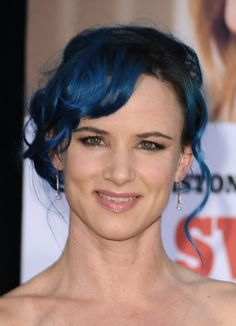 Pin for Later: The Future's Bright: Celebrities With Coloured Streaks, Dip Dyes, and Pastel Hair Juliette Lewis Juliette Lewis teamed dark blue hair with a romantic updo for a mix-and-match look at the premiere of The Switch in 2010.