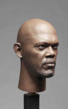 1 6 America Captain Samuel Jackson Nick Head Sculpt FOR Male Fury Body Model… Human Sculpture, Sculpture Clay, Statues, Samuel Jackson, Star Wars Models, Wax Museum, Doll Makeup, Face Photo, Body Sculpting