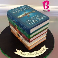 Game of Thrones Cake! - although there should be 2 of book #3 and books 4 and 5 are mixed up :-D