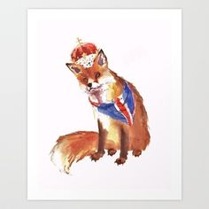 QUEEN's JUBILEE Fox - 8x10 inches Art Print by eastwitching