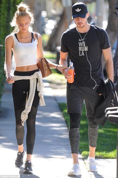 Abs-olutely fantastic: Victoria's Secret model Romee Strijd showed off her toned tummy as she and beau Laurens van Leeuwen headed for lunch after workout in West Hollywood on Monday Sport Fashion, Fitness Fashion, Fashion Models, Sport Outfits, Cute Outfits, Model Outfits, Fitness Inspiration, Style Inspiration, Fit Couples