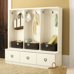 Beadboard Entry Cabinet - Set of 3 - traditional - hall trees - Ballard Designs Entryway Cabinet, Entryway Storage, Entryway Organization, Organized Entryway, Garage Entryway, Entryway Ideas, School Organization, Traditional Hall Trees, Entry Closet