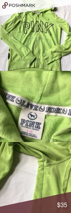 "VS PINK Lime Green Hoodie Full Zip Good condition. Minor pilling. See photos. Size large. Measures 19.5"" armpit to armpit, 23.5"" shoulder to hem. PINK Victoria's Secret Tops Sweatshirts & Hoodies"