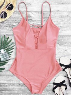 SHARE & Get it FREE | Shaping Crisscross Plunge One Piece Swimsuit - Pink MFor Fashion Lovers only:80,000+ Items • New Arrivals Daily Join Zaful: Get YOUR $50 NOW!