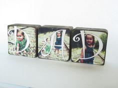 Set of 3 Personalized Custom Photo Wood Blocks, Home Decor, Photo Gift, Wedding, Mothers day, Christmas