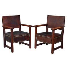 "L & JG Stickley, assembled pair of armchairs, no.388, Fayetteville, NY, oak, original leather, original brass,  27""w x 24""d x 36.25""h, Provenance: Craftsman Auctions, The Collection of Robert and Elaine Dillof, Croton Falls, NY,"