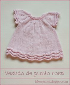 Vestido de punto en algodón rosa Baby Knitting Patterns, Knitting Stitches, Crochet For Kids, Knit Crochet, Bodies, Knit Baby Dress, Spinning Wool, Culottes, Baby Kind