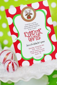 Reindeer Games party Christmas invitation - Cute!