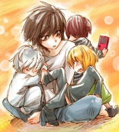 Death Note - L (Middle) Mello (Front Right) Matt (Back Right) Near (Left). OH GOOD LORD MY HEART IS MELTING.