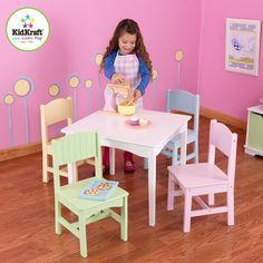 KidKraft Nantucket Table & 4 Pastel Chairs - 26101 -  Kid Kraft Pretend Play - Nurzery.com - 2