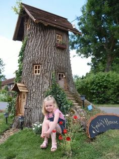 Poppy Robinson 4 with Emilys House the fairy tree in her grandad Neil Rafis front garden at Wreningham which he made from an oak tree stump Neil hopes that people will co. Fairy Tree Houses, Fairy Garden Houses, Garden Trees, Gnome Tree Stump House, Gnome House, Balcony Garden, Garden Tree House, Fairy Gardening, Garden Gnomes