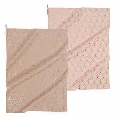 2 torchons en coton rose/beige MAGIX