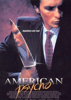 "--Direction, structure, and form are large elements in this poster.. Direction is shown by the diagonal slant of ""psycho"", which doubles in the category of form by contrasting from the all-caps ""American"". ""Psycho"" is all lower cased. Lastly, structure is prevalent through font contrast; ""American"" is Roman Oldstyle while ""psycho"" is more of a handwritten/scribbled font."