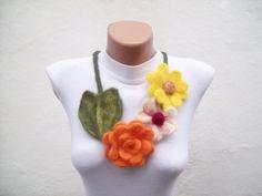 Felted Flower   Necklace Yellow Orange   Winter by nurlu on Etsy