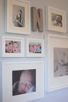 I like the idea of a gallery wall with the last initial. would put our wedding photos in Ich mag die Idee einer Galeriewand mit der letzten Initiale. Baby Bedroom, Baby Boy Rooms, Baby Boy Nurseries, Nursery Room, Girl Nursery, Girl Room, Kids Bedroom, Nursery Wall Collage, Nursery Ideas