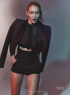 Gigi Hadid by Benny Horne for Vogue Australia June 2015 - Miu Miu top, Dolce&Gabbana blazer and shorts Kendall, Kylie, Gigi Hadid Style, Mannequin, Hair Colors, Fashion Models, Women's Fashion, Grey Fashion, Fashion Shoot