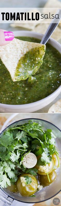 A musthave in your refrigerator this tomatillo salsa recipe is so easy and flavorful that you'll wonder why you haven't always been making it! Mexican Dishes, Mexican Food Recipes, Ethnic Recipes, Vegetarian Mexican, Dessert Recipes, Sauce Recipes, Cooking Recipes, Healthy Recipes, Easy Recipes