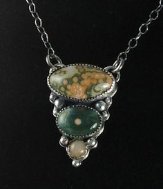 Ocean Jasper - Peach Moonstone - Cabochon Multi Stone Pendant Necklace