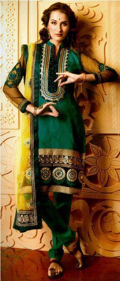 $85.71 Green Faux Georgette Designer Salwar Kameez 16730
