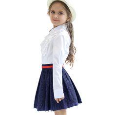 2c93936385 2 unids Set Para 3-8Yrs Niña Uniforme Escolar Estilo Británico Princesa  Blanca de manga. Estilo BritánicoFalda ...