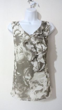 Ann Taylor Grey White Tank Top Shirt Blouse Print Career Evening Ruffle Small S #AnnTaylor #Blouse