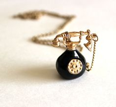 Telephone necklace vintage black rotary phone by Bunnys on Etsy, $35.00